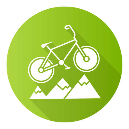 Mountain cycling green flat design long shadow glyph icon. Cross-country, downhill biking. Outdoor sporting activity. Riding over rough terrain. Extreme sport. Vector silhouette illustration
