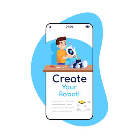 Create your robot social media posts smartphone app screen. Mobile phone displays with cartoon characters design mockup. Assembly instructions for constructor application telephone interface Stock Photo