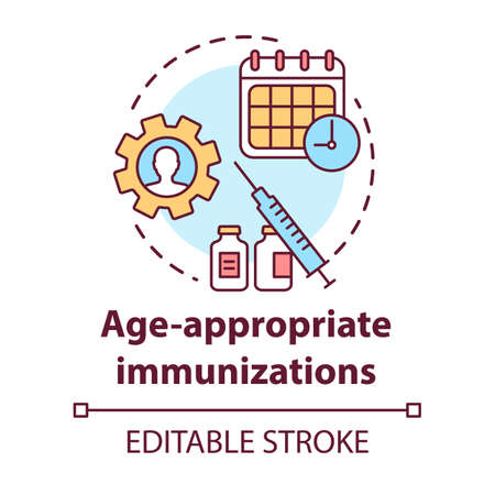 Age appropriate immunizations concept icon. Vaccination schedule idea thin line illustration. Healthcare, syringe, calendar. Medication timing. Vector isolated outline drawing. Editable stroke