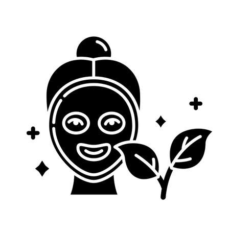 Face mask glyph icon. Skincare routine. Plant-based. Beauty product. Facial healing treatment. Hydrating. Cleansing. Organic cosmetics. Silhouette symbol. Negative space. Vector isolated illustration