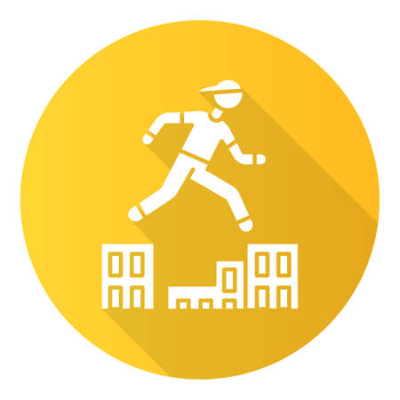 Parkour yellow flat design long shadow glyph icon. Traceur running in city environment. Traversing obstacles. Person jumping in urban space. Street workout. Vector silhouette illustration