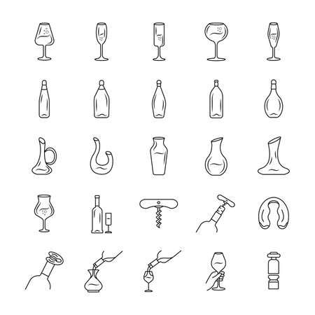 Wine service linear icons set. Aperitif drink bottle thin line contour symbols. Alcohol beverage pouring in glass. Isolated vector outline illustrations. Editable stroke