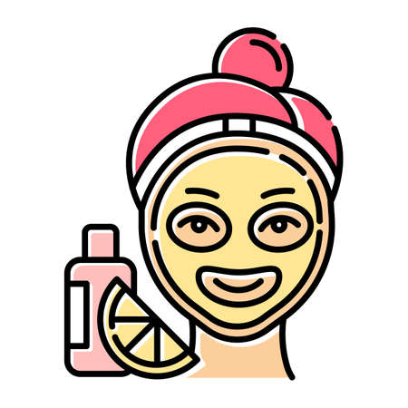 Vitamin C mask color icon. Skin care procedure. Facial treatment. Everyday beauty routine step. Face product for exfoliating effect. Dermatology, cosmetics, makeup. Isolated vector illustration