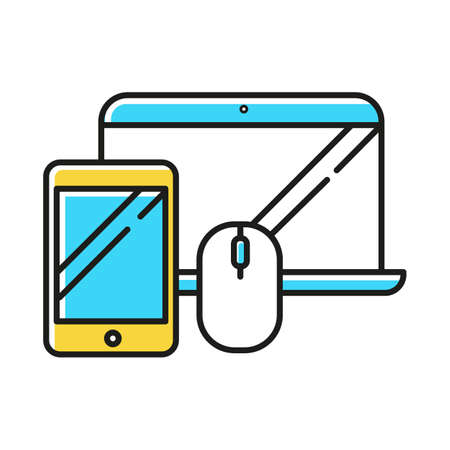Electronics and accessories color icon. Smartphone and laptop. Computers and other devices, technology. E commerce department, online shopping categories. Isolated vector illustration