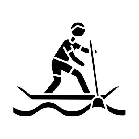 Paddle surfing glyph icon. Sup boarding watersport, extreme underwater kind of sport. Recreational outdoor activity and hobby. Silhouette symbol. Negative space. Vector isolated illustration