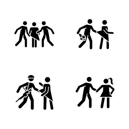 Different rape types glyph icons set. Silhouette symbols. Sexual harassment of women. Date, statutory, war and gang rape. Sexual assaulted female victims. Vector isolated illustration