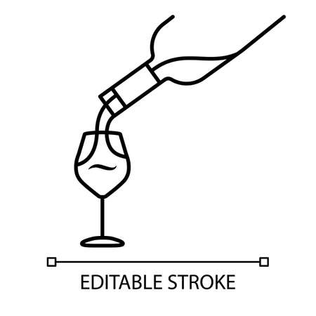 Wine service linear icon. Alcohol beverage pouring in glass thin line illustration. Aperitif drink bottle contour symbol. Sommelier, winery. Vector isolated outline drawing. Editable stroke
