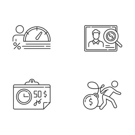 Credit linear icons set. Personal creditworthiness report. Bunkrapcy risk. Tax sheet with price. Credit card debt. Thin line contour symbols. Isolated vector outline illustrations. Editable stroke