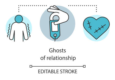 Ghost of relationship concept icon. Emotional problem, depression idea thin line illustration. Depressed person and heart with stitches vector isolated outline drawing. Editable stroke