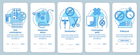 Safe sex onboarding mobile app page screen with linear concepts. Oral contraceptive. Five walkthrough steps graphic instructions. Intrauterine device. UX, UI, GUI vector template with illustrations Stock Photo