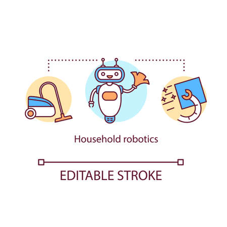 Household robotics concept icon. Domestic indoor robot. Automatic house cleaner. Electronic housekeeping device idea thin line illustration. Vector isolated outline drawing. Editable stroke