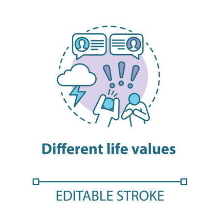Different life values concept icon. Family quarrel. Disagreement. Inability to negotiate. Mutual accusations of partners idea thin line illustration. Vector isolated outline drawing. Editable stroke Reklamní fotografie