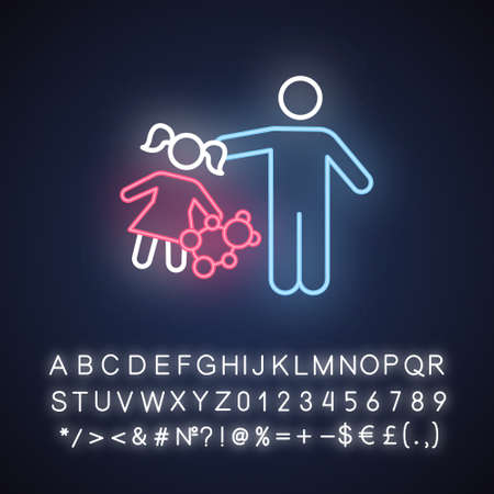 Rape of children neon light icon. Child harassment, abuse. Victim of assault. Sexual exploitation of kids. Pedophilia of offenders. Glowing sign with alphabet. Vector isolated illustration