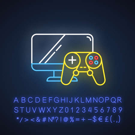 Video games and consoles neon light icon. Hobbies and computer. Game controller and monitor screen. E commerce department. Glowing sign with alphabet, numbers and symbols. Vector isolated illustration Illustration