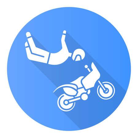 Freestyle motocross blu design piatto lunga ombra icona del glifo. Acrobazie in motocicletta. Persona che esegue acrobazie aeree in motocicletta. Sport estremo. Illustrazione di sagoma vettoriale