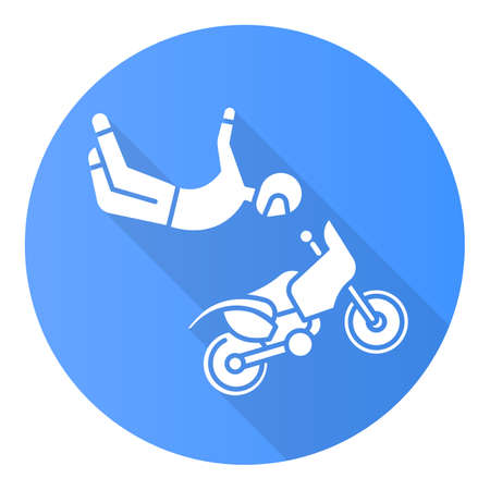 Freestyle motocross blue flat design long shadow glyph icon. Motorcycle stunt riding. Person performing motorcycling air stunt. Extreme sport. Vector silhouette illustration