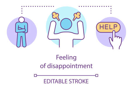 Feeling of disappointment concept icon. Anger and frustration management, psychological help idea thin line illustration. Irritated, stressed person vector isolated outline drawing. Editable stroke Banco de Imagens