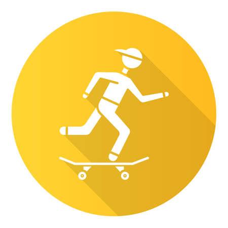 Skateboarding yellow flat design long shadow glyph icon. Street culture. Skater riding board. Skating guy. Person performing skateboard stunts. Extreme sport. Vector silhouette illustration 版權商用圖片