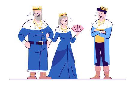 Ilustración de vector plano medieval rey, reina y príncipe. Gobernantes del reino con personajes de dibujos animados aislados hijo con elementos de contorno sobre fondo blanco. Personajes de cuento de hadas, gobernantes del reino