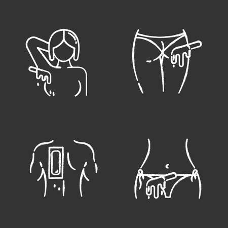 Hot waxing chalk icons set. Armpit, buttocks, back, bikini hair removal. Cold wax strips. Body hair depilation. Professional beauty treatment cosmetics. Isolated vector chalkboard illustrations Stock Photo