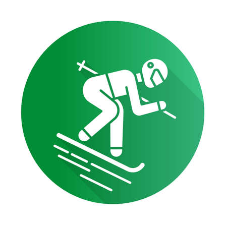 Skiing flat green design long shadow glyph icon. Winter extreme sport, risky activity and adventure. Outdoor dangerous leisure and hobby. Skier downhill freestyle ride. Vector silhouette illustration