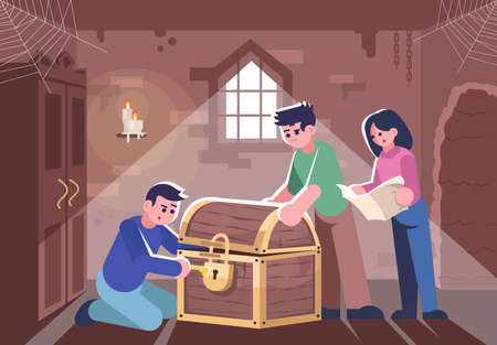 Friends opening closed chest flat vector illustration. People in escape room, woman and men solving mystery cartoon characters. Logic team game, modern entertainment, treasure hunt 스톡 콘텐츠