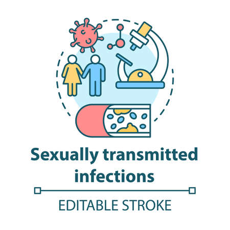 Sexually transmitted infections concept icon. STIs idea thin line illustration. Venereal diseases. Unprotected sex. Bacterias, viruses. Vector isolated outline drawing. Editable stroke Stok Fotoğraf