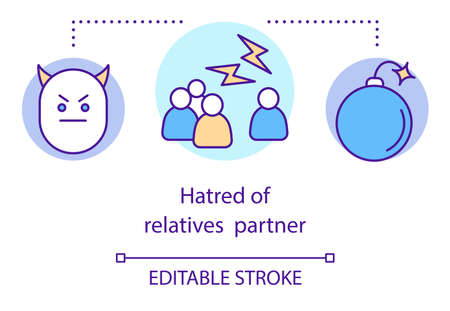 Hatred of relatives partner concept icon. Relationship trouble, family members loathing idea thin line illustration. Angry face, arguing people, bomb vector isolated outline drawing. Editable stroke