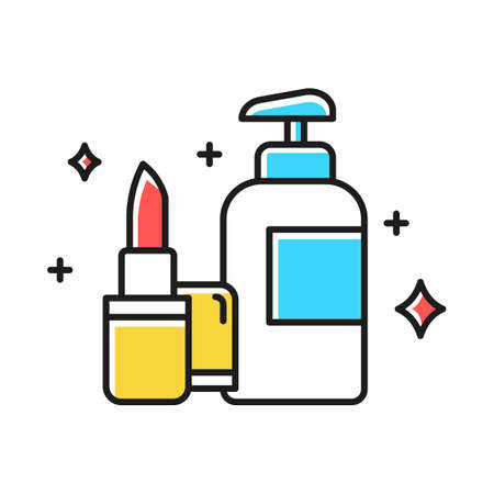 Beauty and personal care color icon. Makeup and skincare products. Lipstic, moisturizer. Decorative cosmetics concept. E commerce department, online shopping categories. Isolated vector illustration