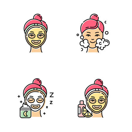 Skin care procedures color icons set. Night time routine. Vitamin C cream for facial beauty treatment. Using cleanser water. Moisturizer for personal skincare. Isolated vector illustrations Stockfoto