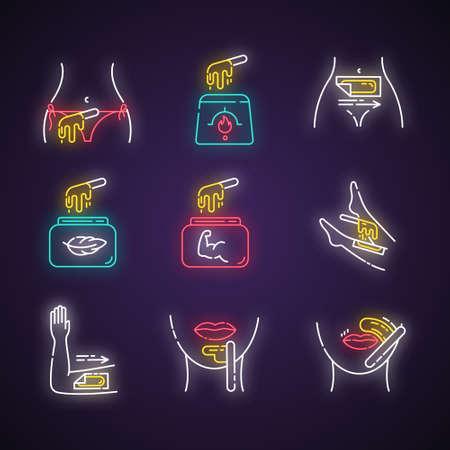 Conjunto de iconos de luz de neón de depilación. Depilación de bikini, pierna, labio superior, mentón. Cera fría y caliente en frasco con espátula. Equipo de depilación. Cosmética profesional. Signos brillantes. Ilustraciones de vectores aislados
