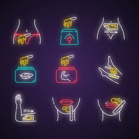 Waxing neon light icons set. Bikini, leg, upper lip, chin hair removal. Cold, hot wax in jar with spatula. Depilation equipment. Professional cosmetics. Glowing signs. Vector isolated illustrations