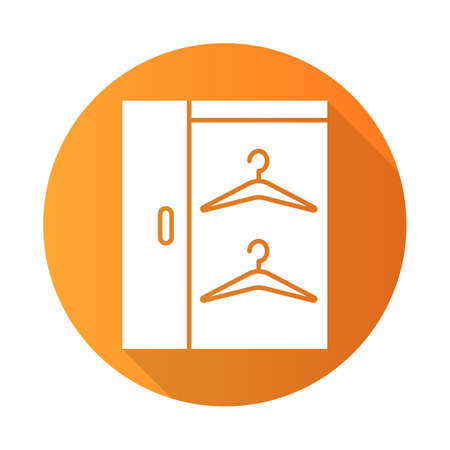 Walk in closets orange flat design long shadow glyph icon. Dressing room. Wardrobe. Furniture for hanging clothes storage. Cupboard, cabinet. Comfortable home. Vector silhouette illustration