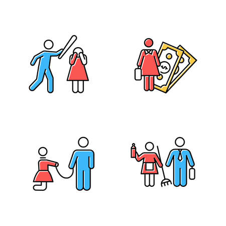 Gender equality color icons set. Female economic activity. Violence against woman. Sexual slavery. Bullying, harassment. Gender stereotypes. Couple relationship. Isolated vector illustrations