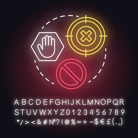 You stopped fighting neon light concept icon. Prohibition of domestic violence. Forbid on spousal abuse idea. Glowing sign with alphabet, numbers and symbols. Vector isolated illustration