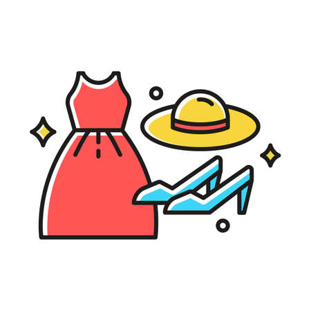 Women fashion color icon. Different luxury clothes and accessories. Female clothing and shoes. Apparel details. E commerce department, online shopping categories. Isolated vector illustration Reklamní fotografie