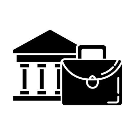 Business industry glyph icon. Credit bureau. Black briefcase and bank building. Economist, finances worker. Professional attributes. Silhouette symbol. Negative space. Vector isolated illustration Illusztráció