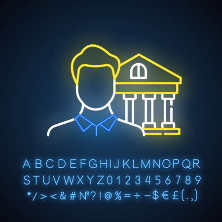 Credit manager neon light icon. Professional businessman. Customer service. Economy, finance industry. Bank building. Glowing sign with alphabet, numbers and symbols. Vector isolated illustration