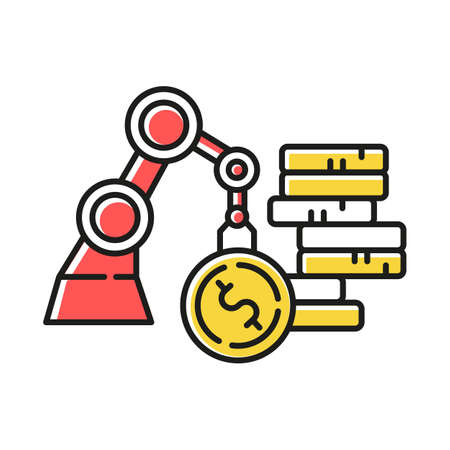 Business and industrial color icon. Equipment and supplies for office and industry. Building materials and tools. E commerce department, online shopping categories. Isolated vector illustration  イラスト・ベクター素材