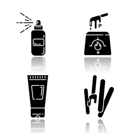 Waxing tools drop shadow black glyph icons set. Hot, soft wax strips with spatula. Hair removal equipment. Body lotion for depilation. Professional cosmetics. Isolated vector illustrations