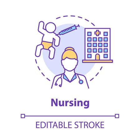 Nursing concept icon. Doctor idea thin line illustration. Nurse, pediatrician. Baby, hospital, vaccination. Child medical care, healthcare. Vector isolated outline drawing. Editable stroke