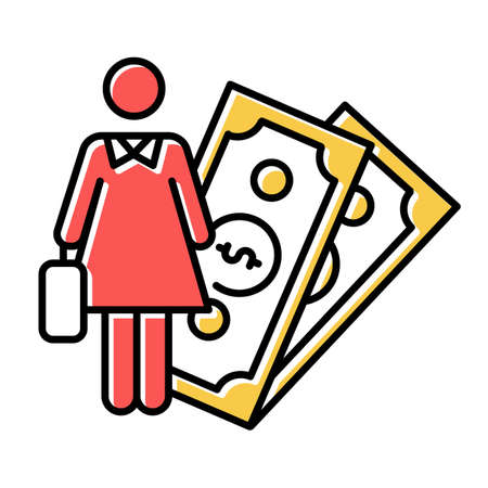 Female economic activity color icon. Woman rights, gender equality. Female finance career. Successful businesswoman. Capital, money, business. Feminism, democracy. Isolated vector illustration
