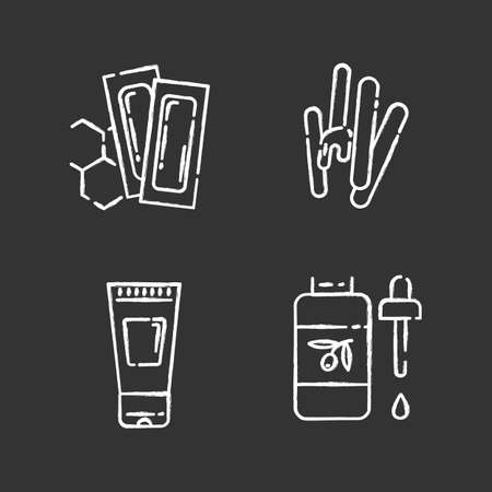 Waxing products chalk icons set. Hot, soft, honey wax in jar. Hair removal equipment. Body spray for depilation. Professional beauty treatment cosmetics. Isolated vector chalkboard illustrations Archivio Fotografico - 133496769