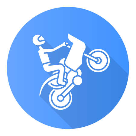 Motorcycling blue flat design long shadow glyph icon. Track, road rally, speedway, motocross racing. Person performing motorbiking stunt. Extreme sport. Vector silhouette illustration