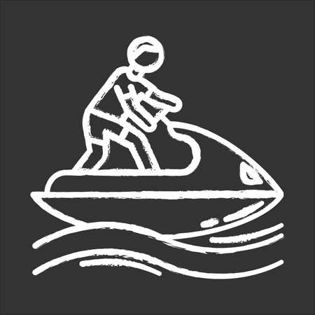 Jetskiing chalk icon. Summer activity. Jet ski riding. Man on water scooter. Watersports, extreme and dangerous kind of sport. Recreational outdoor activity. Isolated vector chalkboard illustration 版權商用圖片