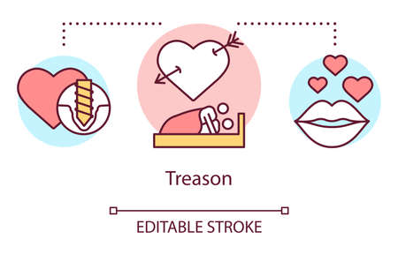 Treason concept icon. Relationship trouble, trust betrayal idea thin line illustration. Infidelity, dishonesty in marriage. Cheating couple in bed vector isolated outline drawing. Editable stroke Stok Fotoğraf