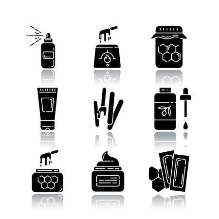 Waxing equipment drop shadow black glyph icons set. Natural hot honey wax strips with spatula. Hair removal tools. Body lotion, spray, oil. Professional beauty cosmetics. Isolated vector illustrations Stock fotó