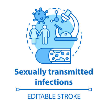 Sexually transmitted infections concept icon. STIs idea thin line illustration. Venereal diseases. Bacterias, viruses screening. Unprotected sex. Vector isolated outline drawing. Editable stroke Reklamní fotografie