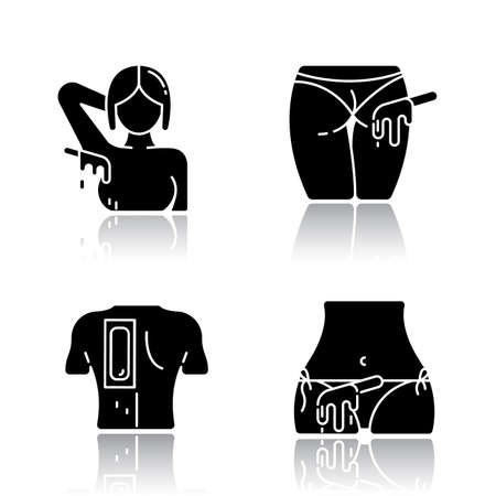 Hot waxing drop shadow black glyph icons set. Armpit, buttocks, back, bikini hair removal. Cold wax strips. Body hair depilation. Professional beauty treatment cosmetics. Isolated vector illustrations