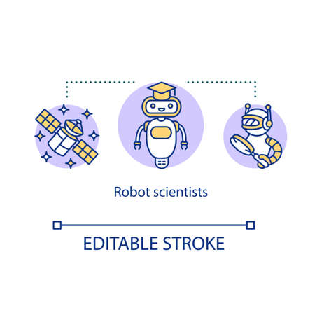 Robot scientists concept icon. Robotic systems in cosmic science. scientific discovery. AI automating researching process idea thin line illustration. Vector isolated outline drawing. Editable stroke